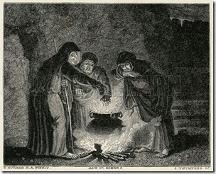 "Act IV, Scene I The witches in their cavern, gathered around the boiling cauldron; ""in the poisn'd entrails throw"". Date Nineteenth century."